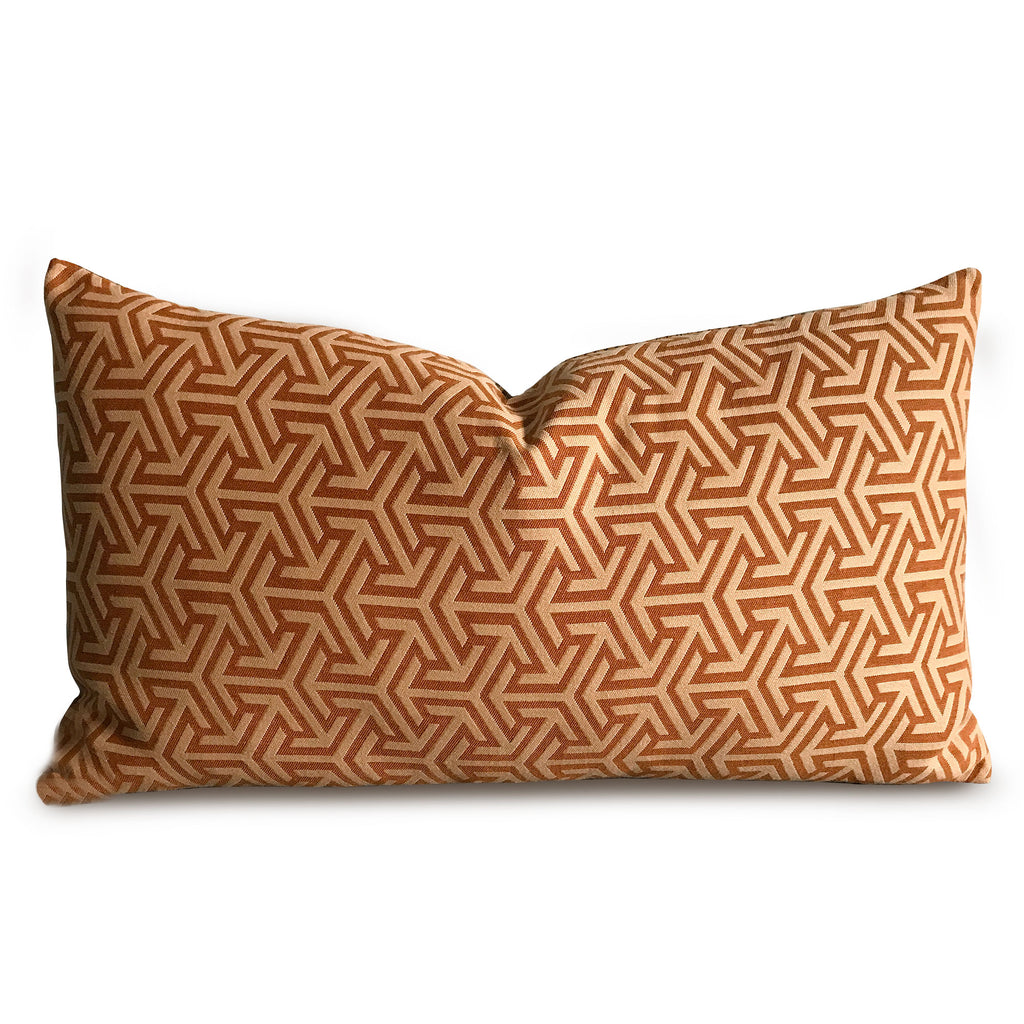 "15""x 26"" Orange Rust Geometric Luxury Woven Decorative Pillow Cover"