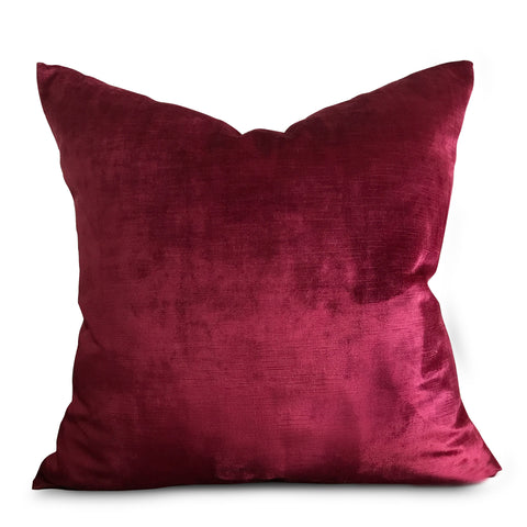 "22""x 22"" Deep Red Solid Luxury Velvet Decorative Pillow Cover"
