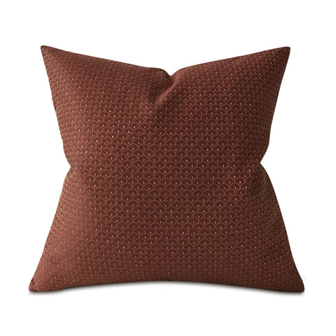 "Burgandy and Gold French Geometric Throw Pillow Cover 22""x22"""