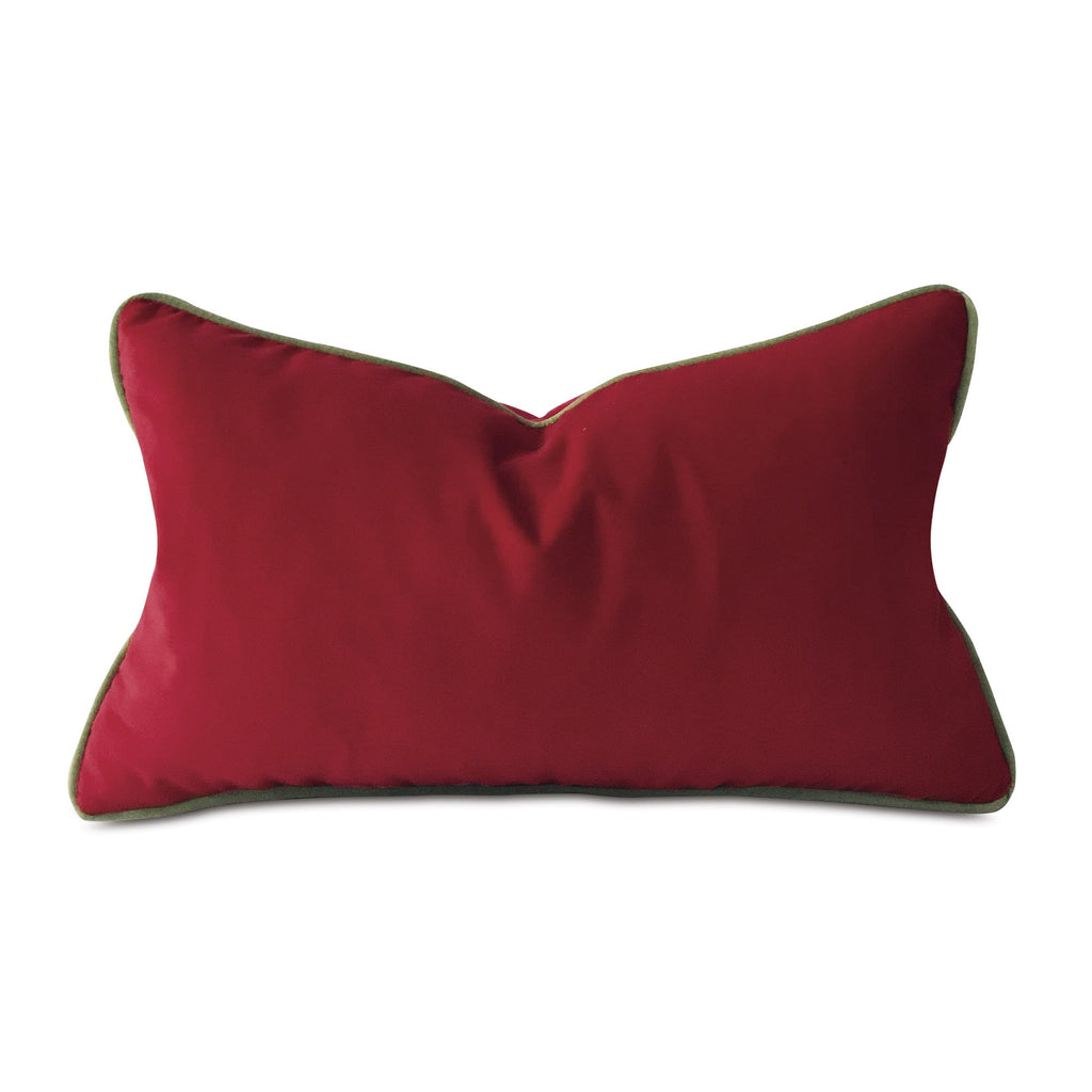 "Red and Green Holiday Velvet Lumbar Pillow Cover 13""x22"""