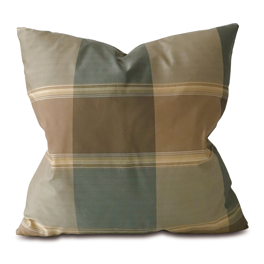 "Blue and Neutral Plaid Shantung Throw Pillow Cover 22""x22"""