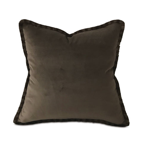 "Brown Mocha Lux Velvet Brush Fringe Throw Pillow Cover 18""x18"""