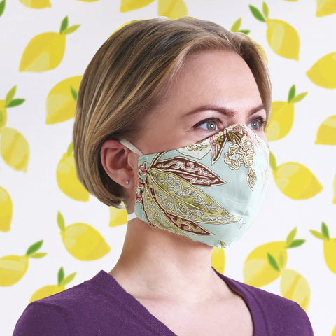 100% Cotton Paisley Cloth Face Mask Teal and Mocha