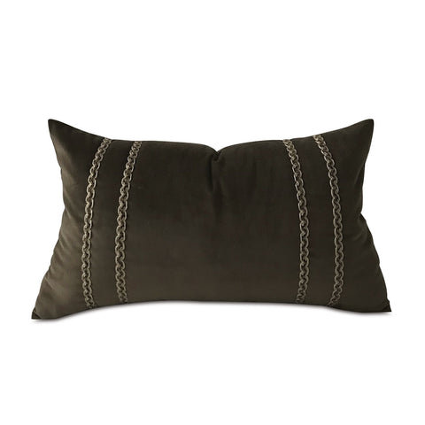"Brown Classic Velvet Border Trim Lumbar Pillow Cover 13""x22"""