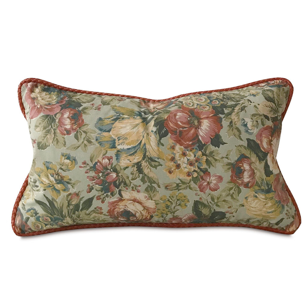 "Victorian Summer Floral Lumbar Pillow Cover with Red Cord 15""x26"""