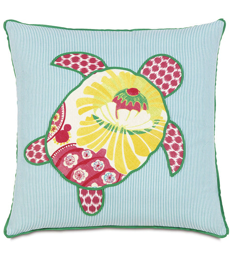 "Epic Alex Turtle Applique Decorative Pillow Cover 22"" x 22"""