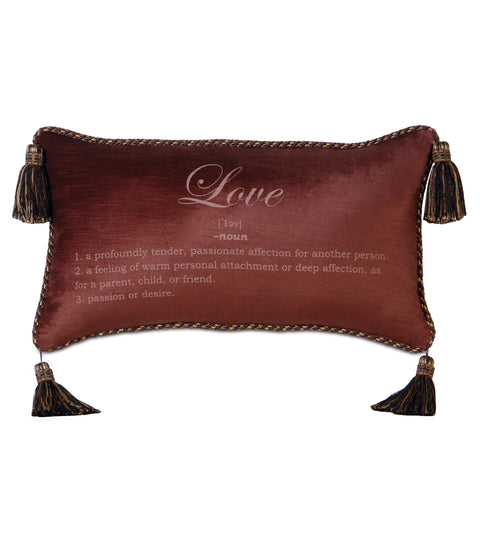 "Poised Velvet 'Love' Decorative Pillow Cover 15"" x 26"""