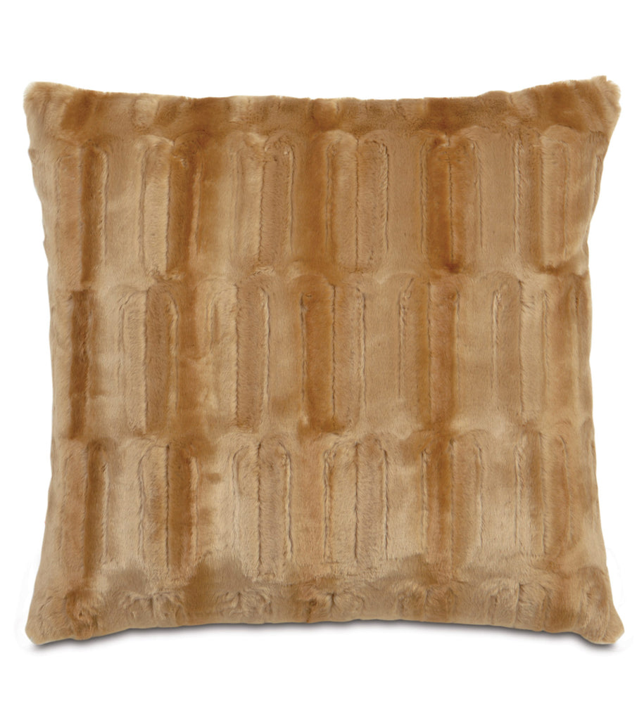 "Sydney Faux Fur Euro Sham Cover in Gold 27"" x 27"""
