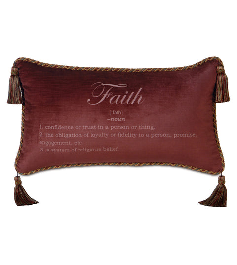 "Poised Velvet 'Faith' Decorative Pillow Cover 15"" x 26"""