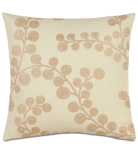 "18"" x 18"" Gold Berry Branch Decorative Pillow Cover"