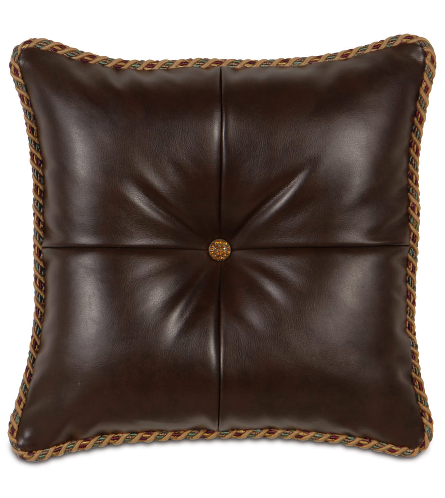 "Cognac Jewel-Tufted Decorative Pillow 18"" x 18"""