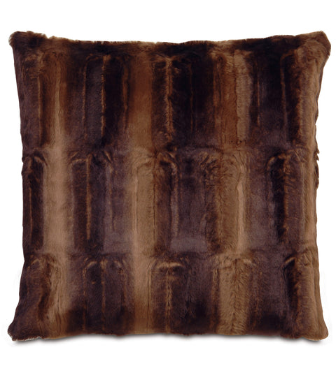 "Sydney Faux Fur Decorative Pillow Cover in Chocolate 20"" x 20"""