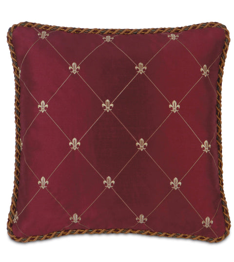 "Antoinette Silk Decorative Pillow Cover in Scarlet 18"" x 18"""