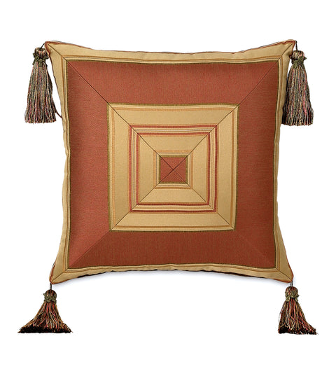 "Arosa Gold Red Mitered Luxury Tassel Pillow Cover 20"" x 20"""