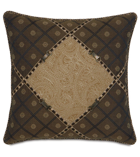 "Astoria Leinster Diamond Fabric Inset Pillow Cover 20""x20"""