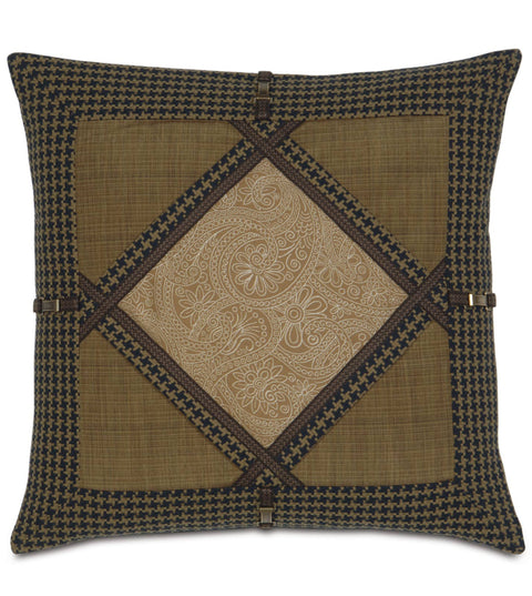 "Astoria Oxford Paisley Diamond Collage Pillow Cover 24""x24"""