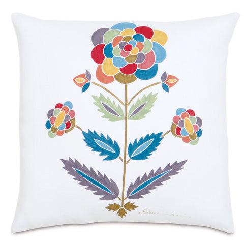"White Whimsical Flower Hand Painted Linen Decorative Pillow 20""X20"""
