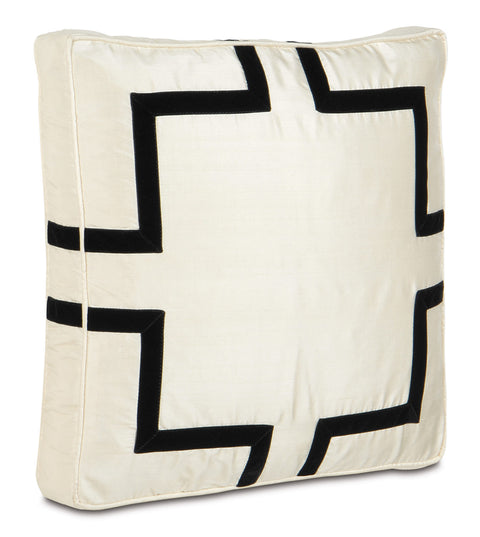 "Neutral and Black Tie Shantung Silk Decorative Pillow 18""X18""X2"""