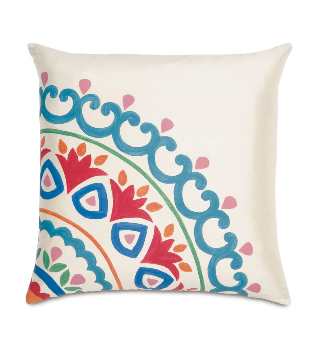 "20"" x 20"" Hand Painted Suzani on Ivory Silk Decorative Pillow Cover"