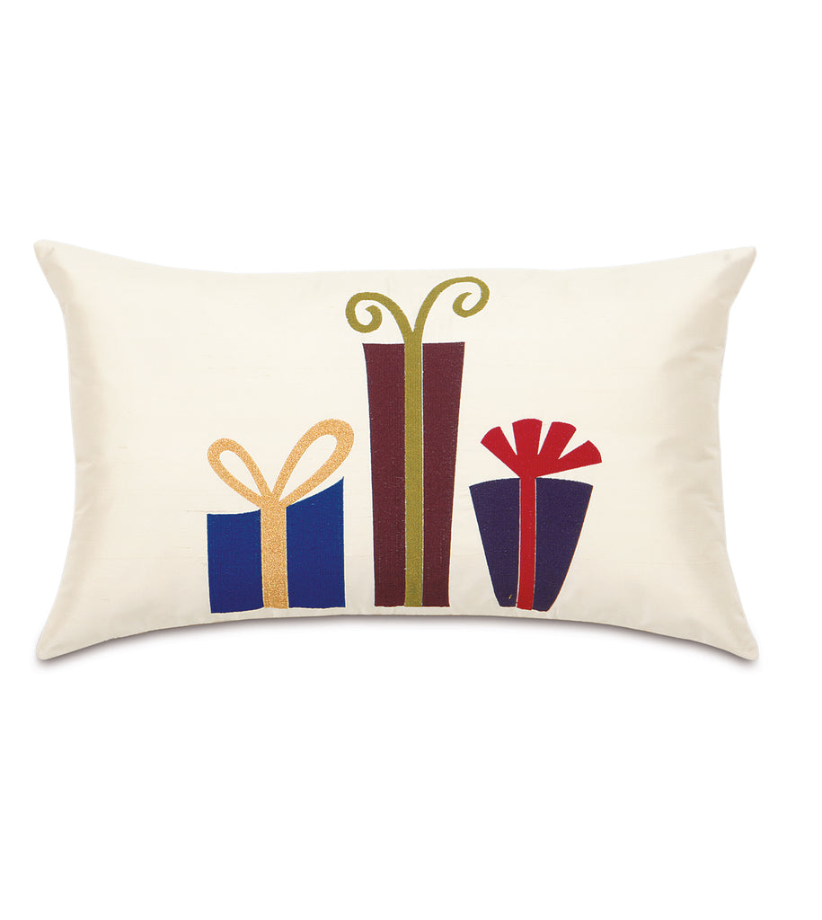 "13"" x 22"" Hand Painted Wrapped Presents on Ivory Silk Decorative Pillow Cover"