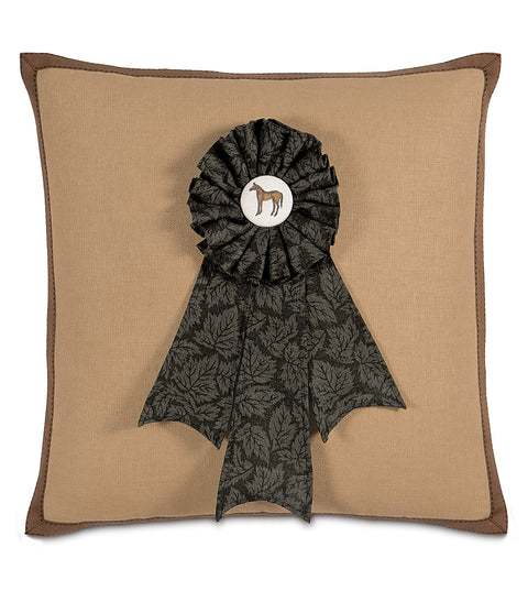 "Ribbon Winner Equestrian Themed Decorative Pillow Cover 20"" x 20"""