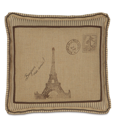 "Wheat Country Burlap Block Print French Eiffel Tower Pillow Cover 20"" x 20"""