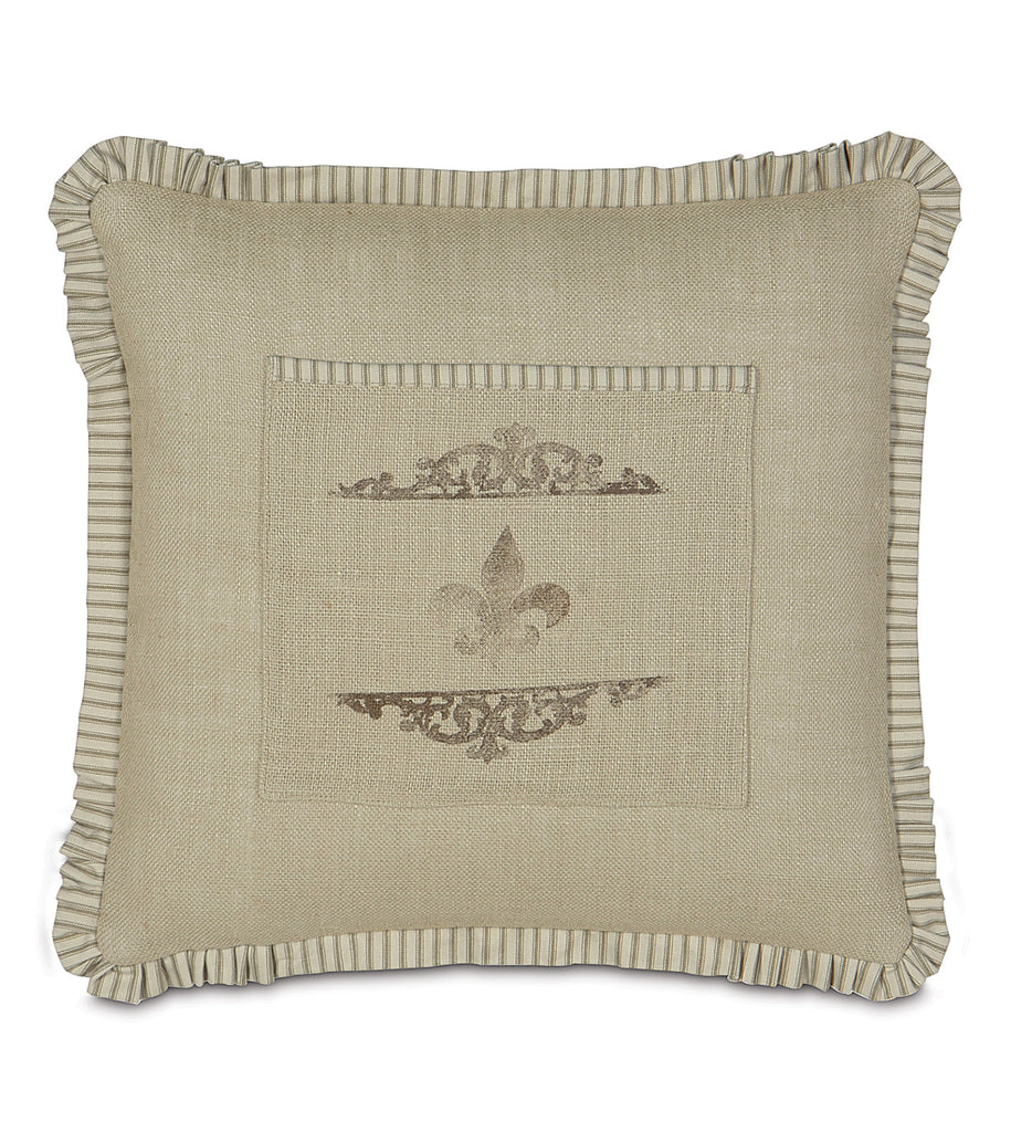 "20"" x 20"" Fleur de lis Sack Decorative Pillow Cover"