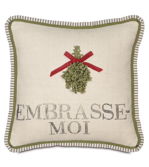 "20"" x 20"" Mistletoe Kisses Decorative Pillow Cover"
