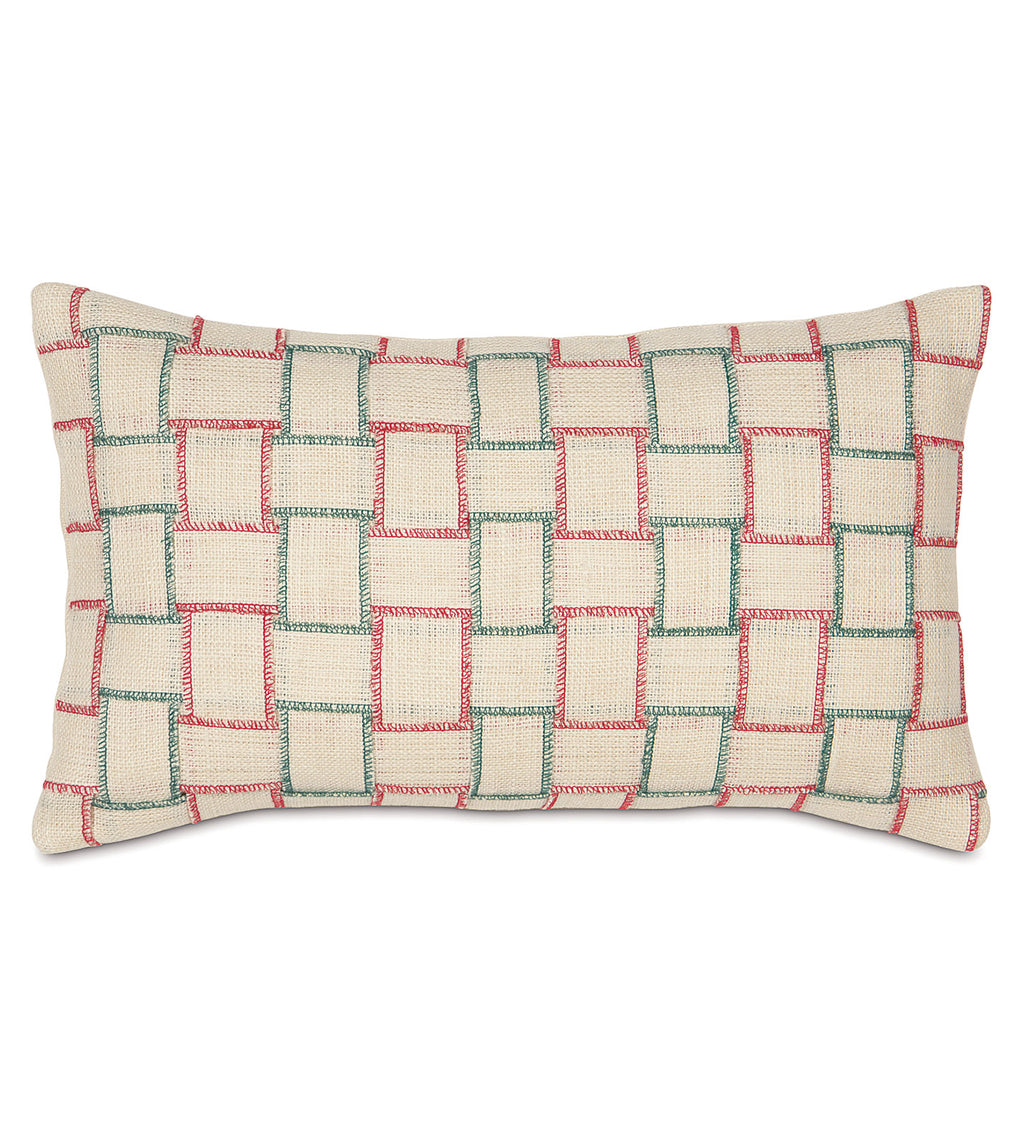 "13""x 22"" Red Green Plaid Woven Jute Decorative Pillow Cover"