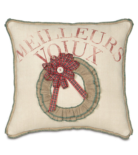 "20"" x 20"" Best Wishes Au Français Decorative Pillow Cover"