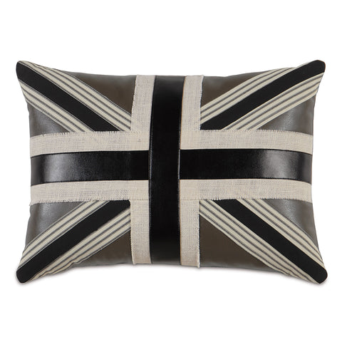 "Brown Union Jack Linen Decorative Pillow 16""X22"""