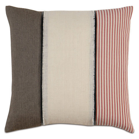 "Beige And Gray Vive La France Decorative Pillow 20""X20"""