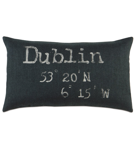 "15"" x 26"" Block Printed Dublin Coordinates on Black Burlap Decorative Pillow Cover"