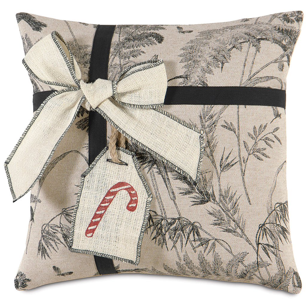 "Peppermint Present Burlap Decorative Pillow Cover 18""x18"""