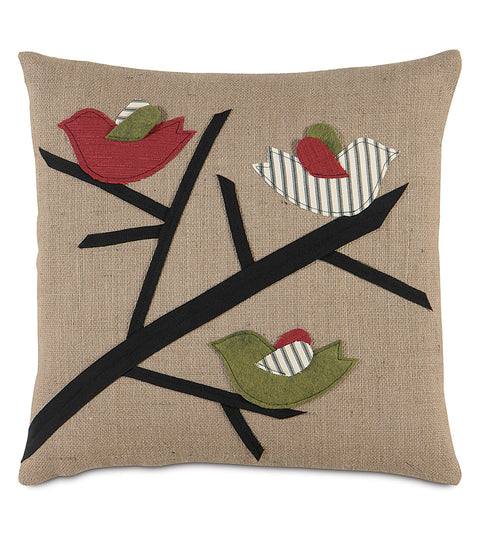 "Nature's Caroling Decorative Pillow Cover 18""x18"""