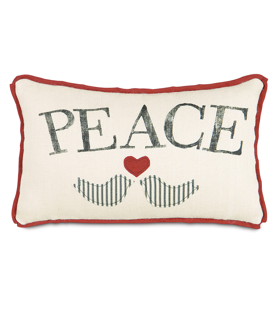 "Block Printed Peace Doves Pillow Cover 13""x22"""