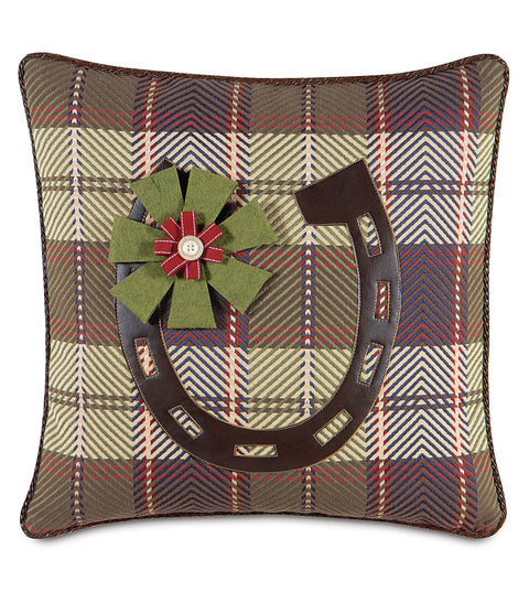 "Holiday Horseshoe Decorative Pillow Cover 20"" x 20"""