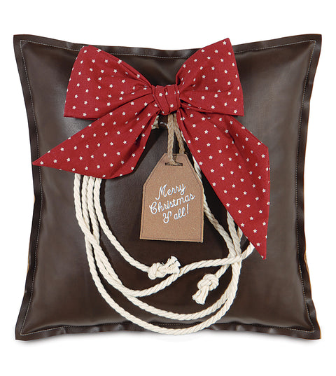 "20"" x 20"" Brown Leather Christmas Lasso Pillow Cover"