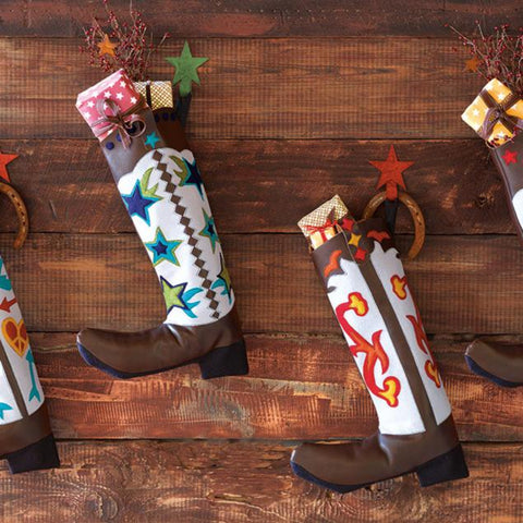 "Boot Scootin' Boogie Faux Leather Stocking 21""x14"""