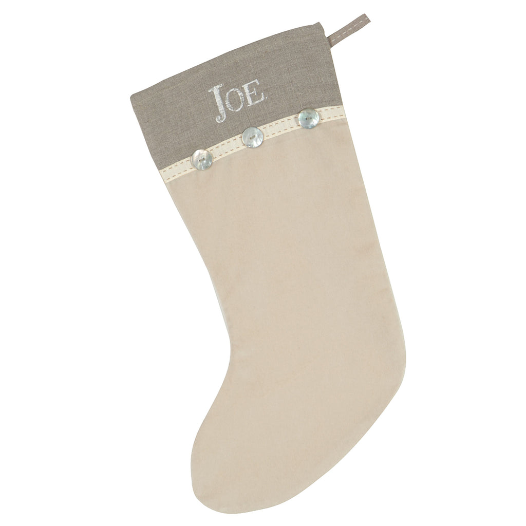 "Ivory and Taupe Button Christmas Stocking 20""X12"""