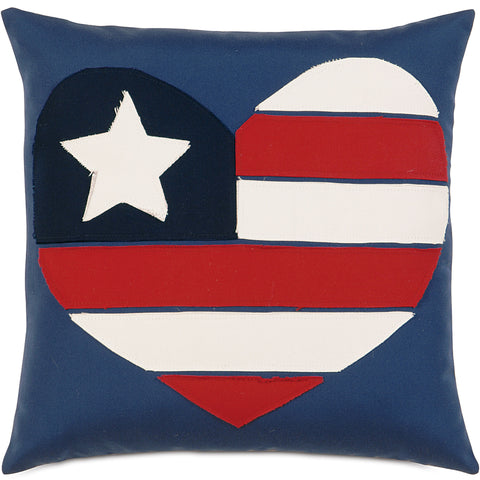 "Indigo And Red I Love The Usa Outdoor Pillow Cover 18""x18"""
