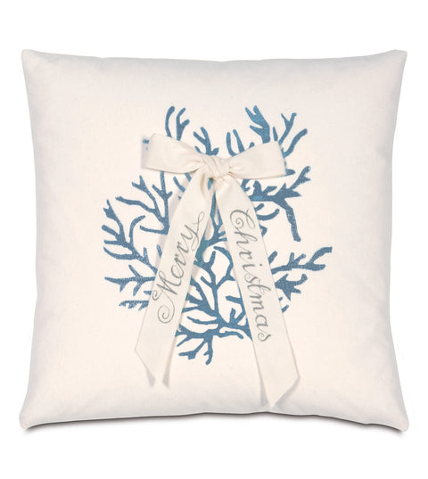 "Ivory Christmas Coral Decorative Pillow Cover 18""X18"""