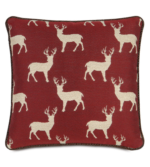 "18"" x 18"" Woven Reindeer Decorative Pillow Cover"