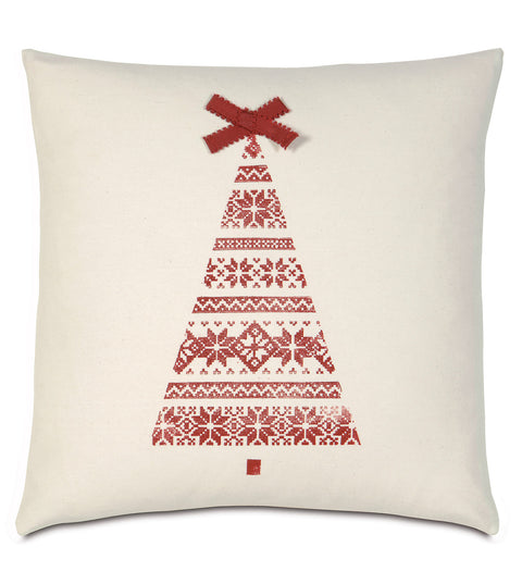 "18"" x 18"" Block Printed Christmas Tree Decorative Pillow Cover"