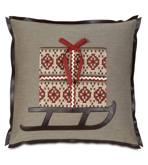 "Gift on Sleigh Decorative Pillow Cover 20"" x 20"""