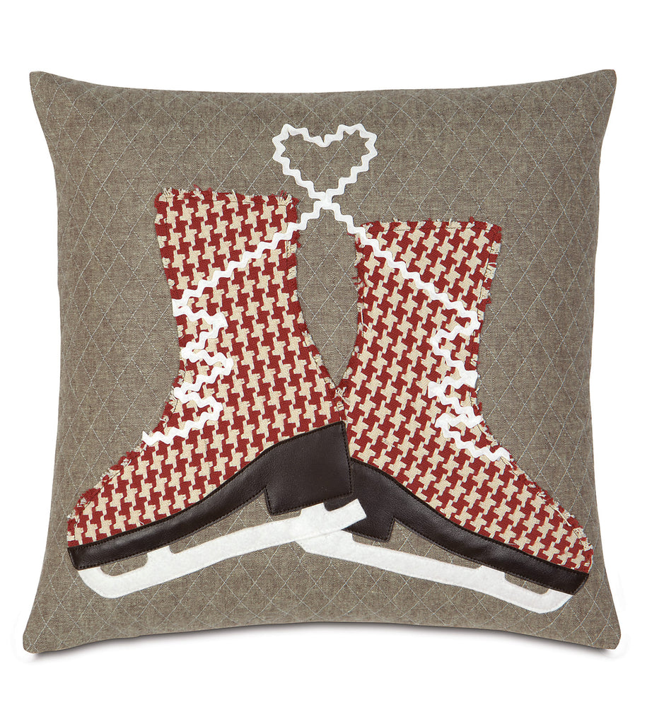 "Nordic Holidays Skate the Cold Away Decorative Pillow Cover 20""x20"""