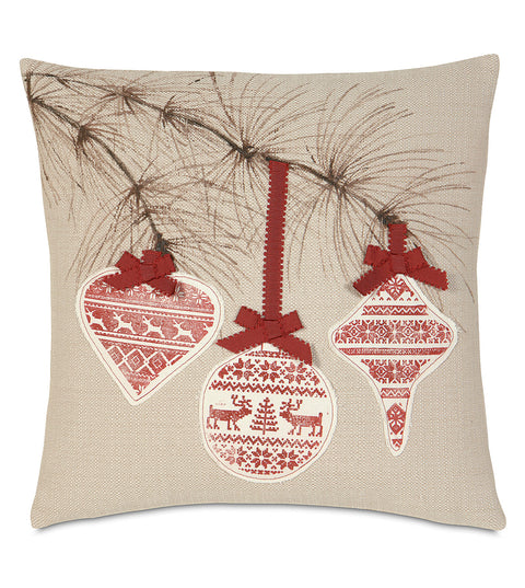 "18"" x 18"" Block Printed Ornaments Decorative Pillow Cover"