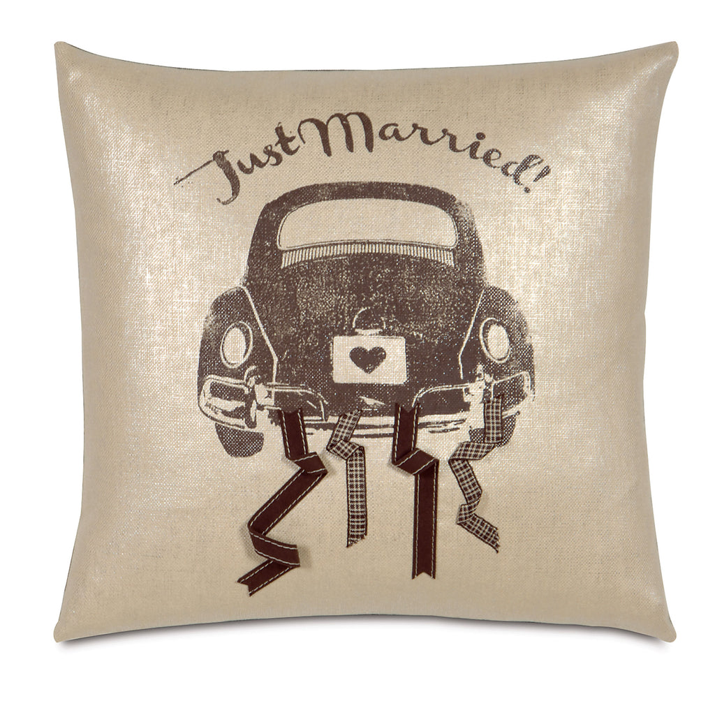 "Just Married Print Linen Decorative Pillow 18""X18"""