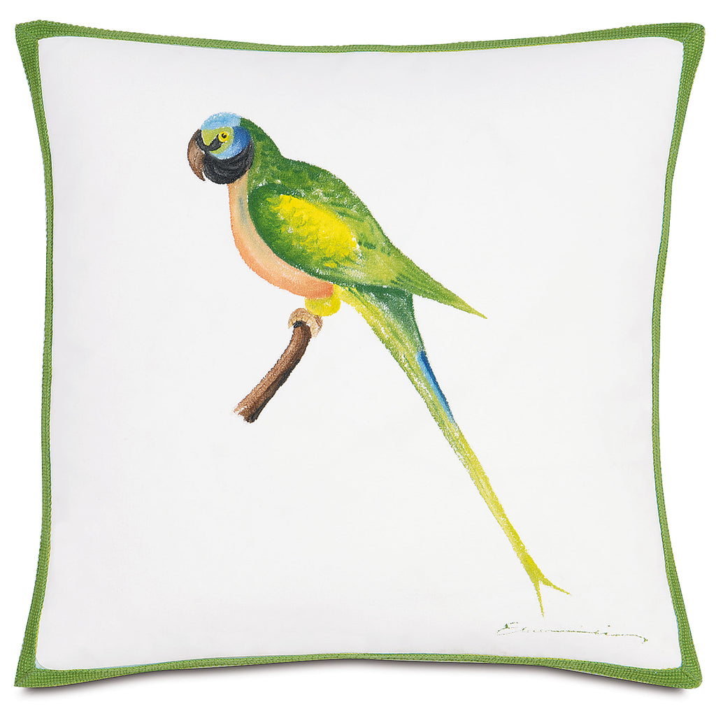 "Hand Painted Green Parrot Outdoor Pillow Cover 18""x18"""