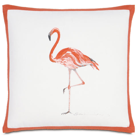 "White And Pink Flamingo Outdoor Pillow Cover 18""X18"""